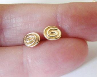 Tiny earrings, tiny 9k gold swirl stud earrings, gold stud earrings, childrens earrings