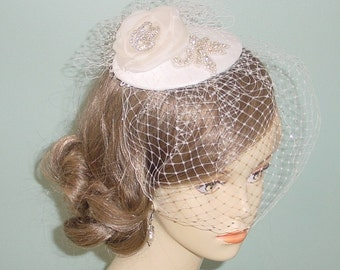 Wedding Cocktail Hat and Birdcage Veil  Bridal Accessory Made to Order