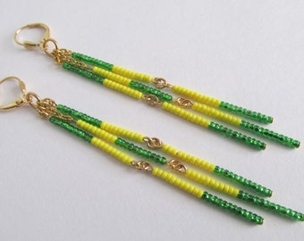 Seed Bead Dangle Earrings - Oregon Ducks/Green Bay Packers