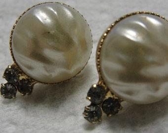 Simulated Pearl and Trio of Rhinestone Stud Pierced Earrings