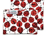 Snack Bags LADYBUGS Re-Usable Washable Velcro or Zipper  Closure