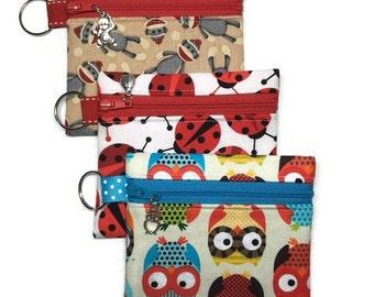 Blue Orange OWL Monkey Ladybug or FOX Print Zipper Pouch Coin Bag Purse with Charm
