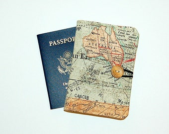 Passport Cover Wallet Travel Organizer - World Map Expedition (Australia)