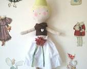Fabric rag doll, Girl Rag doll, handmade doll, Cloth doll, fabric doll, Woodland Brownie Doll for girls