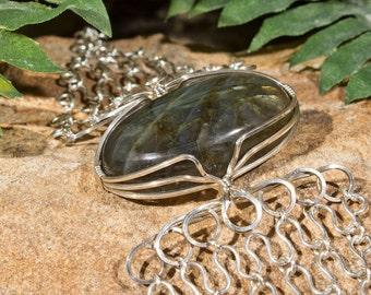 Silver Labradorite Wrap Bracelet - Sterling Silver