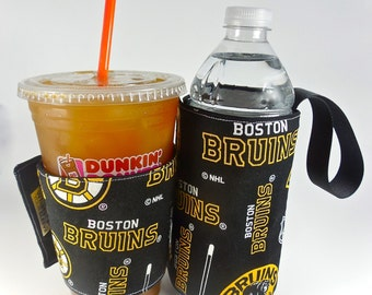 Whats Up Your Sleeve Gift Set Fabric Coffee Sleeve with Insulated Water Sleeve Boston Bruins