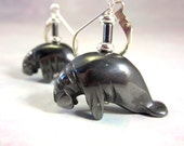 Manatee earrings - Carved...