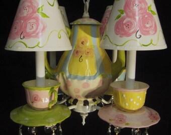 Teapot Chandelier - Tea Cups Chandelier - Tea Party Decor - Childrens Chandelier - Kids Room Lighting