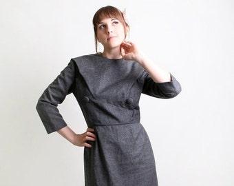 ON SALE Vintage Vogue Paris Original Dress - 1950s Grey Wiggle Dress - Medium to Large
