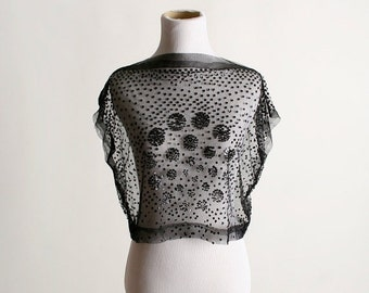 ON SALE Vintage Sheer Sequin Blouse - Formal Evening Layering Top - Small