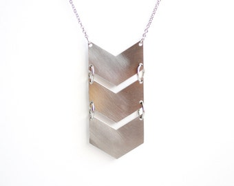 Geometric Triple Chevron Necklace - Gold or Silver
