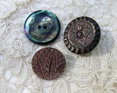 Antique Abalone Shell Buttons, Art Deco Carved Leaves, Star & Victorian Scrimshaw Engraved Sailboat...Vintage MOP Buttons, 3 ...Lot of Three