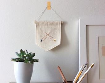 Feather Embroidery Art; Modern Folk Art; Textile Wall Hanging; Summer Camp; Indian Summer; Totem Pennant; Tribal Boho Decor; Wall Flag