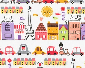 Paris fabric, French Decor, Childrens fabric, Travel fabric, House fabric, Bike fabric, by Robert Kaufman, Choose The Cut