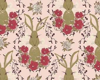 Forest Floor fabric by Bonnie Christine for Art Gallery Fabrics, Nature fabric, Rabbit fabric, Pink fabric, Nursery decor, Choose your cut