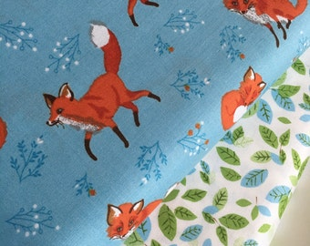 SALE fabric, Modern fabric, Hipster, Cotton fabric by the yard, Nursery fabric, Fox fabric, Robert Kaufman, Bundle of 2- Choose the Cut