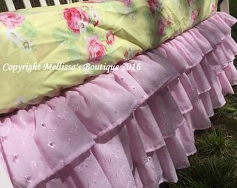 NEW! Shabby Chic Pink Eyelet Ruffled 3 Tier Crib Skirt Boutique Designer Crib Bedding MADE To ORDER