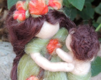 "Woodland Mommy ""My Mommy & Me"" Waldorf Steiner Inspired Made to Order wool needle felted"