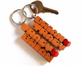 "SPECIAL for 2 - Personalized ""His and Hers"" Love Keychains - Cherry Wood Names"