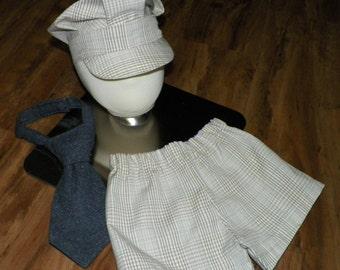 Baby Boy Short and Train hat  size 3 to 6 months with Gunmetal tweed necktie