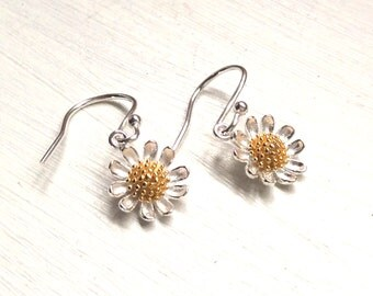 Bridesmaids gift, best friend gift, Earrings, jewellery, jewelry, silver flower, daisy, Christmas presents, xmas gift