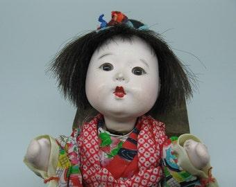 Itchimatsu Gofun Baby Girl Doll with Kimono
