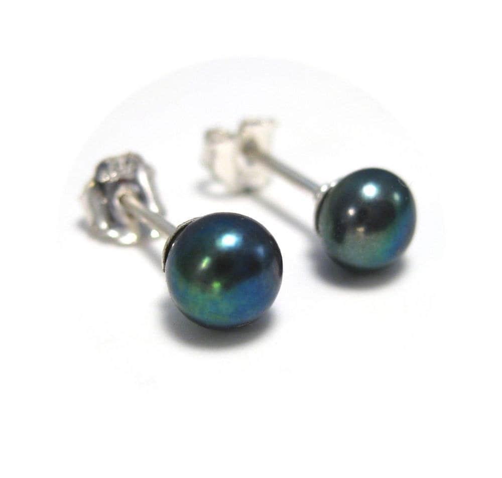 small peacock pearl earrings genuine freshwater pearl stud