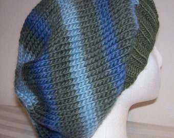 Wool Slouch Hat - Slouchy Knit Beanie - Knitted Hipster Toque - Hand Knit Hat - Wet Land