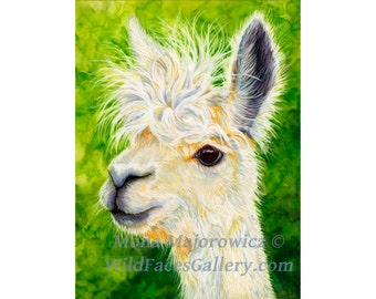 Alpaca Art, White Alpaca Print. country decor, kids decor, nursery decor, farm decor, alpaca painting, peruvian art, peruvian decor