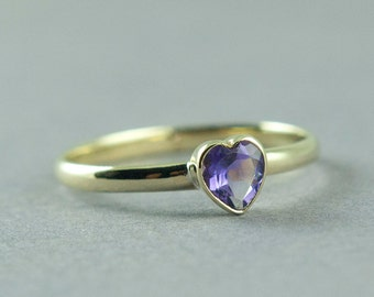 Gold Amethyst Ring, February Birthstone, Amethyst Heart Ring, Solid Gold Ring, 14K Yellow or Rose Gold, Made to Order, Free Courier Shipping
