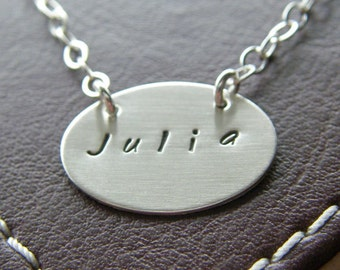 Personalized Necklace - Custom Hand Stamped Sterling Silver  Charm Jewelry - Petite Oval Connect with birthstone or pearl