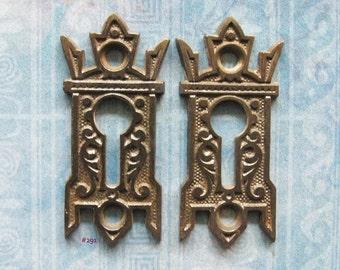 Gothic Black Eastlake Escutcheon Keyhole Cover [2] Antique Furniture Lock Plates Iron Skeleton Key Hole Hardware