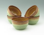 Pottery Serving Bowl - Rustic Ceramic Cereal or Noodle Bowl Ready to Ship - Stoneware 20 oz Honey & Aqua Nibbles or Dip Bowl Sold Singly