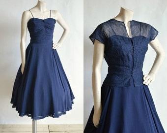 30% OFF 1950s Nat Tumar Dress --- Vintage Navy Party Dress