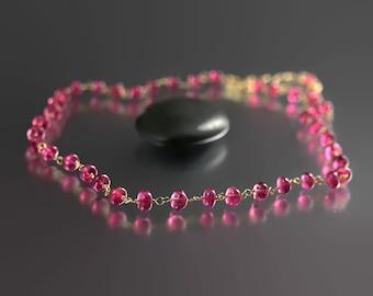Pink Tourmaline Necklace - 14k Gold - Tourmaline Necklace - October Birthstone