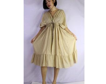 Light Brown  Soft Cotton V-Neck Short Ruffle Tunic Dress One all most (GR 03)