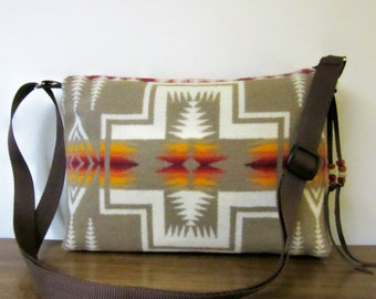 Purse Shoulder Cross Body Bag Adjustable Strap Blanket Weight Wool Native American Print