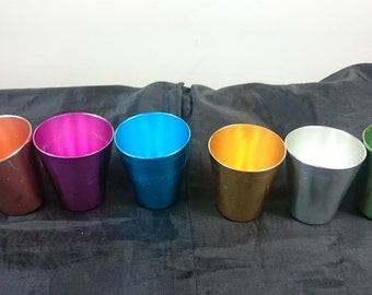 Vintage Aluminum Metal Colorful Multi Colored Shot Glasses Set of 6  1950's - 1960's
