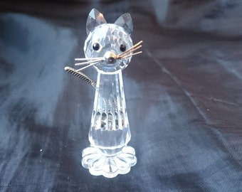 Vintage Swarovski Crystal Glass Cat Figurine Signed  with Articulated Silver Metal Tail
