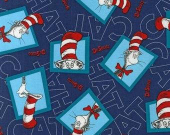 "FAT QUARTER FQ07 Dr. Seuss The Cat In The Hat 2 Navy ADE-13981-9 Precut 18""x22"" Fabric Cotton Quilting Robert Kaufman"