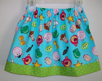 3t Toy Story Skirt Emoji Skirt Aqua & Lime toddler skirt Buzz Lightyear Woody Skirt Birthday Skirt Twirl Skirt Toy Story Party Ready to Ship
