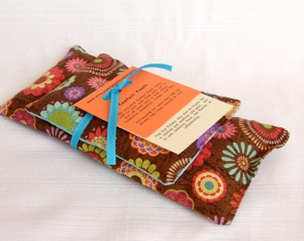 Bridesmaid Gift Set, Flax Eye Pillow, Comfort Pouch, Aromatherapy, Flax and Rice Therapy