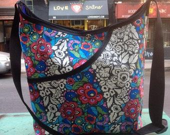Floral Print Cotton Market Bag, Cotton Crossbody Shoulder Bag, Cotton Tote Bag