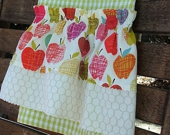 Farmhouse Tea Towel | Farm Style Kitchen Towel | Ruffled Towel | Apples | Vintage Button | Country Decor | Kitchen Decor | Green White Check