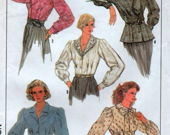 1987 Fitted Shirt Blouse Sewing Pattern long sleeves with cuffs 3 Sizes 10 12 14 Euro 36 38 40