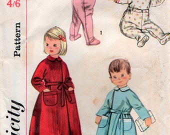 1950s Vintage Childs Pajamas and Robe Sewing pattern Size 2T Chest 21 inch Simplicity 2290