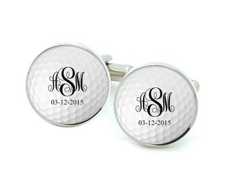 Golf Cufflinks, Initials Golf Ball Cufflinks, Groom Cufflinks, Wedding Cufflinks, Personalized Gift