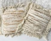 TWO Fiber art textile weave woven pillow home decor boho bohemian pillow included.