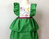 First Birthday Party Dress, Grass Green Eyelet