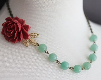 Red Rose Necklace Amazonite Beaded Necklace Wedding Necklace Vintage Jewelry Statement Necklace